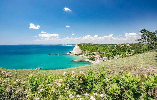 Bela cena de uma cidade perto de um mar coberto de verde