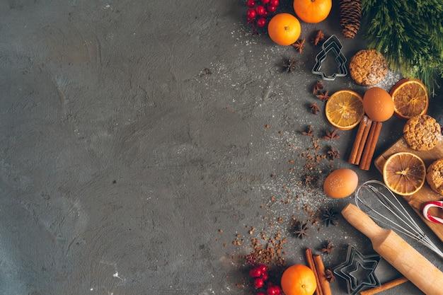 Bela composição de natal culinária de doces tradicionais do feriado