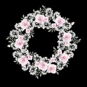 Bela coroa de flores em aquarela com flores rosas, gipsófila e folhas. ilustração
