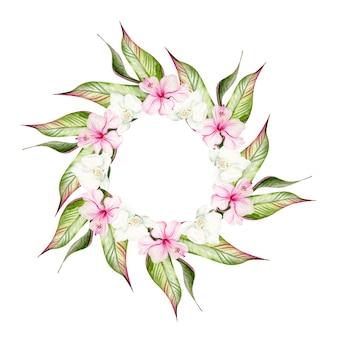 Bela coroa de flores em aquarela tropical com flores de hibisco e folhas tropicais. ilustração