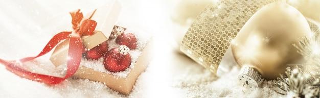 Bela decoração de natal com caixa de presente e neve
