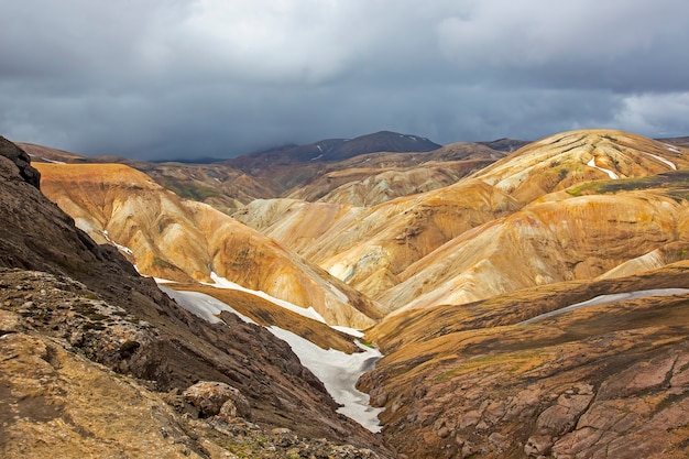 Bela e colorida paisagem montanhosa em landmannalaugar, islândia