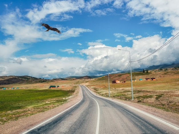 Bela estrada de asfalto sinuosa nas montanhas de outono
