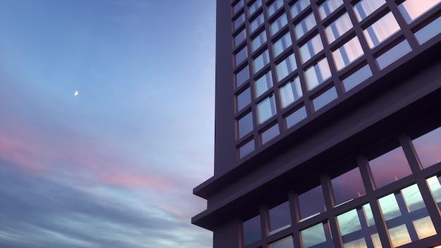 Bela fachada abstrata de arranha-céu com reflexos no céu