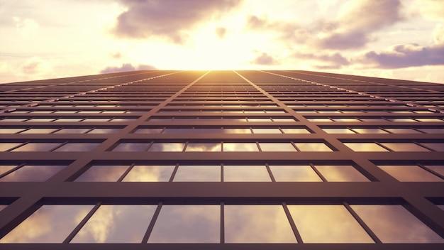 Bela fachada abstrata de arranha-céu
