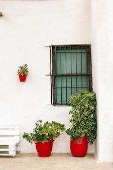 Bela fachada branca de uma típica casa andaluza na espanha com plantas em vasos de barro vermelho