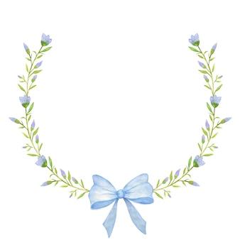 Bela flor azul e moldura circular de fita