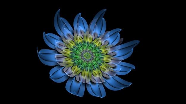 Bela flor colorida 3d abstrata, pétalas de flores brilhantes em um fundo preto. 3d render