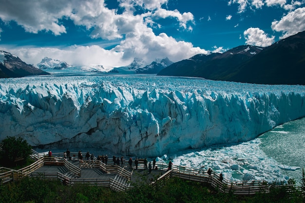 Bela foto da geleira moreno santa cruz, na argentina