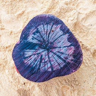 Bela foto da madeira colorida em azul na praia em um dia ensolarado