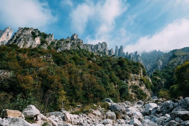 Bela foto de árvores verdes em uma colina perto de falésias rochosas com nuvens no céu azul