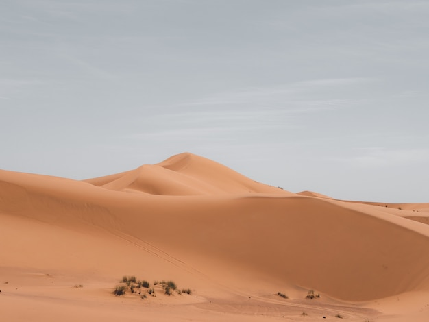 Bela foto de dunas de areia com um céu nublado ao fundo