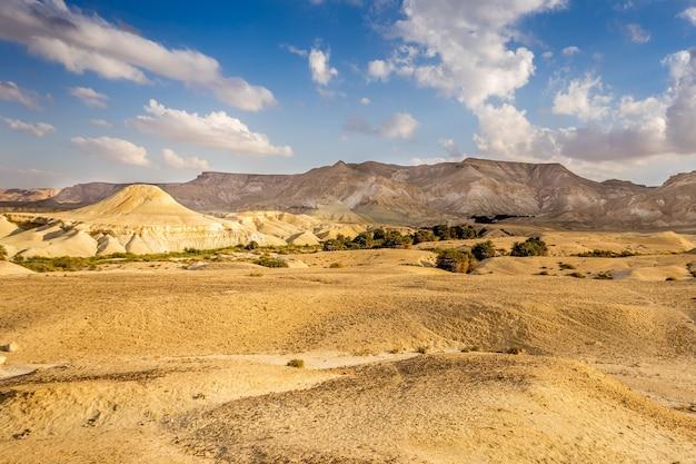 Bela foto de um campo deserto com montanhas e um céu azul nublado