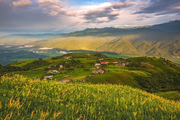 Bela foto de um campo verde com casas de aldeia ao fundo