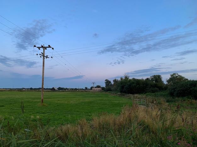 Bela foto de um campo verde com um céu azul nublado