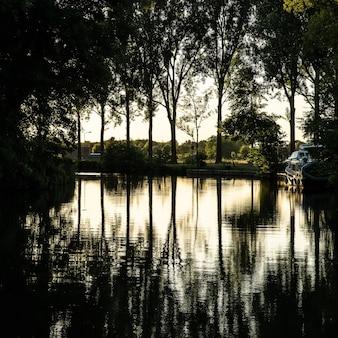 Bela foto de um lago com um barco e cercado por árvores verdes