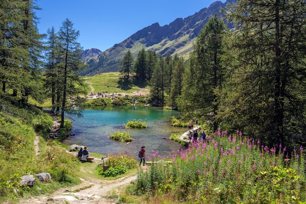 Bela foto de um lago perto das montanhas e cercado por árvores e pessoas