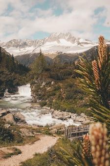 Bela foto de uma cachoeira em rochas cercada por vegetação