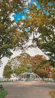 Bela foto de uma fonte no meio da rua cercada por árvores na suíça