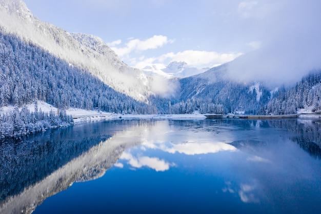 Bela foto de uma incrível paisagem de neve sob a luz do sol