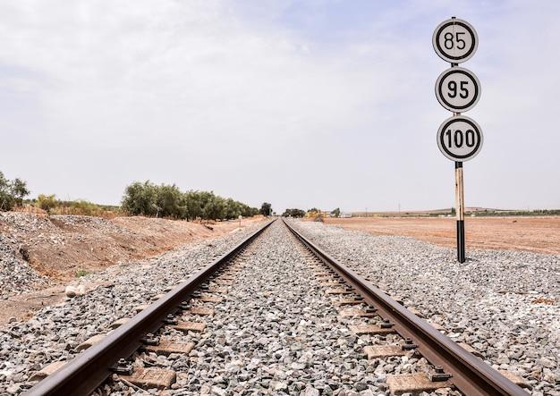 Bela foto de uma linha de trem