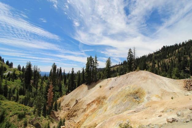 Bela foto de uma paisagem de montanha coberta de árvores