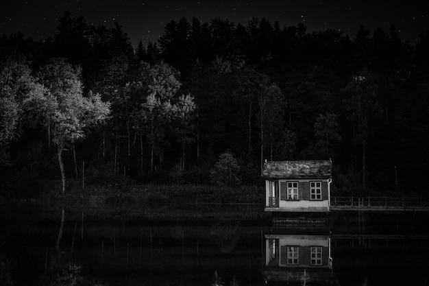 Bela foto de uma pequena casa acima da água, com árvores ao fundo em preto e branco