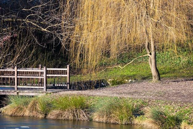 Bela foto de uma pequena ponte em um lago no parque maksimir em zagreb, croácia, durante o dia