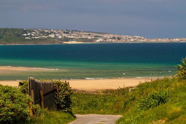 Bela foto de uma praia cheia de diferentes tipos de plantas verdes e casas em cornwall, inglaterra