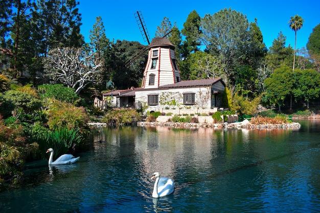Bela foto de uma propriedade rural com um lago de cisnes, rodeado por um cenário verde