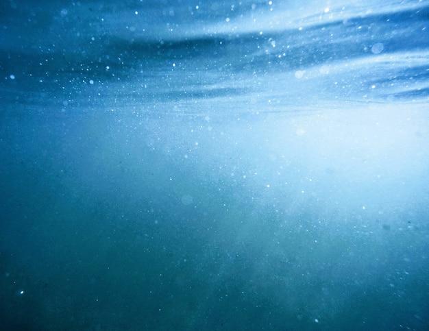 Bela foto feita debaixo d'água com a luz do sol brilhando através da superfície