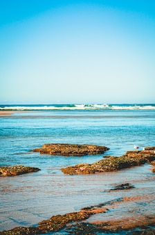 Bela foto vertical de ondas azuis vibrantes do oceano ao redor da praia rochosa