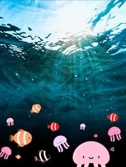 Bela fotografia da água do oceano com filtro de peixe bonito