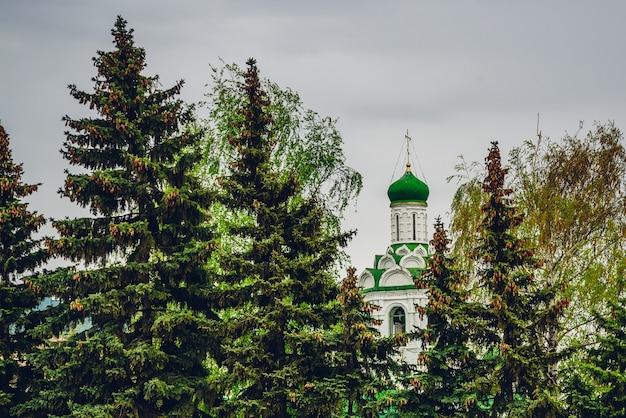 Bela igreja de são joão batista mosteiro entre pinheiros em tempo nublado.