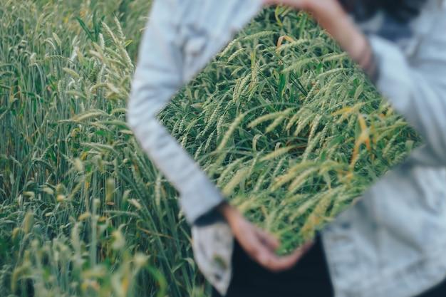 Bela jovem adulta com um espelho nas mãos em um campo de centeio