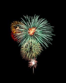 Bela luz para celebração de fogos de artifício coloridos festivos no céu noturno