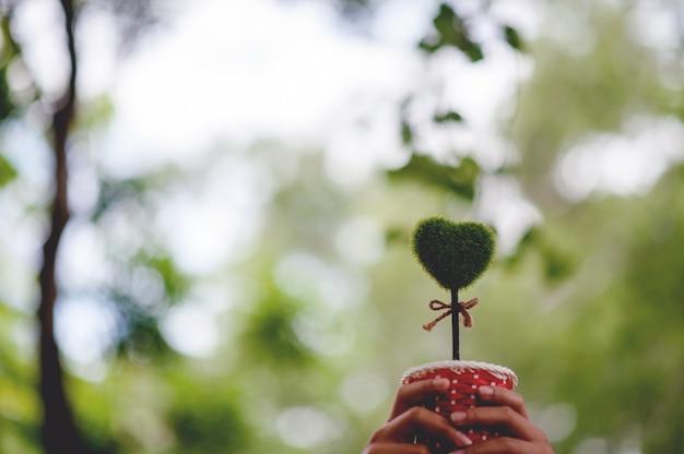 Bela mão verde e imagens de coração dia dos namorados