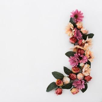 Bela moldura feita com pétalas de flores e plantas em fundo branco