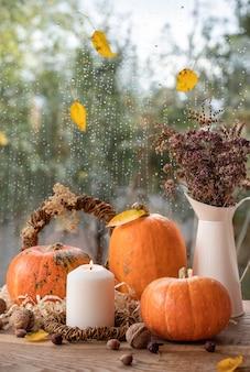 Bela natureza morta de outono com abóboras, uma vela e um buquê de flores secas