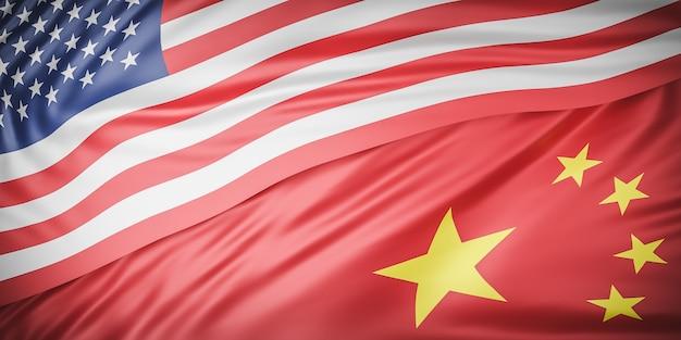 Bela ondulação das bandeiras americana e chinesa