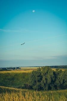Bela paisagem com céu, lua e corvo