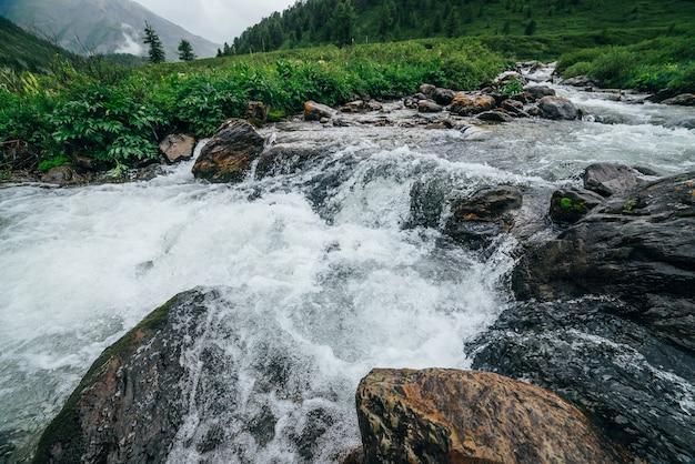Bela paisagem com grandes pedras no riffle de água do rio de montanha.