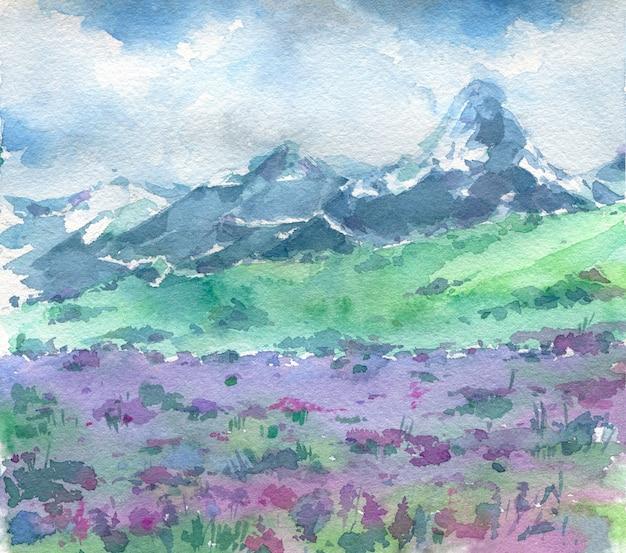 Bela paisagem com montanhas e flores roxas em primeiro plano.