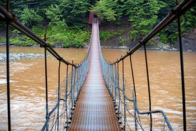 Bela paisagem com ponte estreita de metal que atravessa o rio da montanha