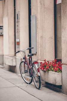 Bela paisagem da cidade com uma bicicleta perto da antiga muralha com flores em viena