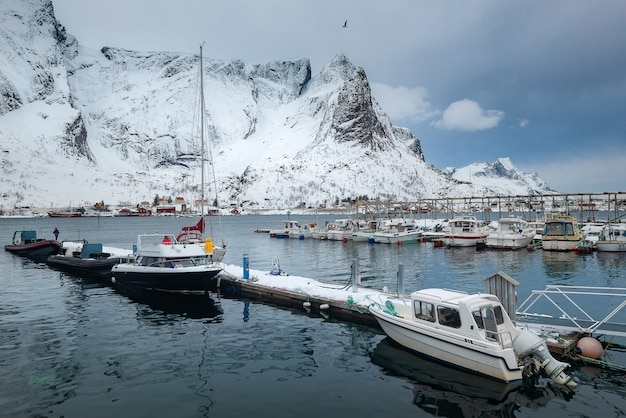 Bela paisagem da ilha de lofoten no inverno