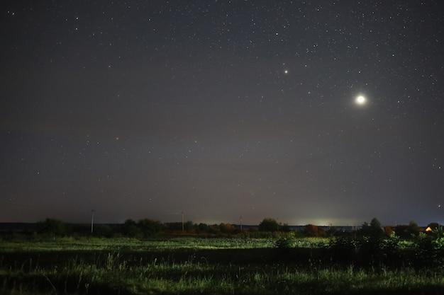 Bela paisagem de noite estrelada de verão
