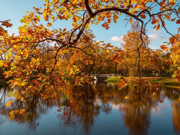 Bela paisagem de outono com uma velha ponte de pedra e um galho de árvore vermelha sobre o lago