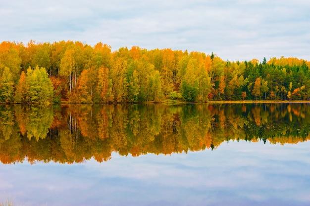 Bela paisagem de outono. reflexo da floresta de outono no lago.