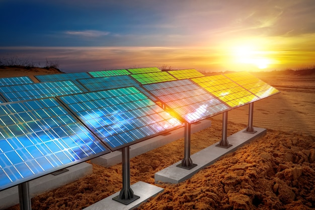 Bela paisagem de painéis solares com céu ao pôr do sol